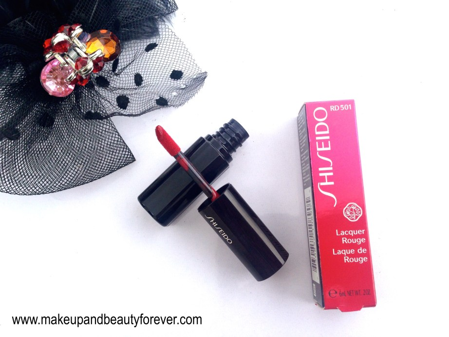 Shiseido Lacquer Rouge Lipstick Drama RD 501 Review Swatches Price and FOTD