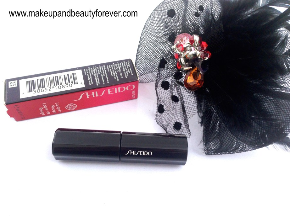 Shiseido Lacquer Rouge Liquid Lipstick Drama RD 501 Review Swatches Price India Beauty Blog