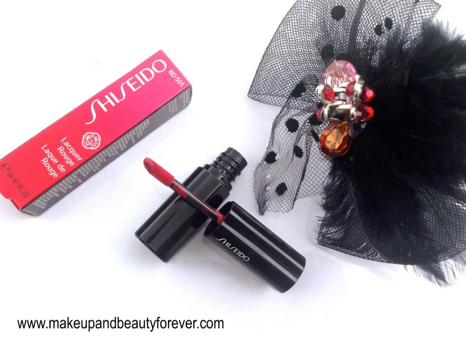 Shiseido Lacquer Rouge Liquid Lipstick Drama RD 501 Review, Swatches, Price