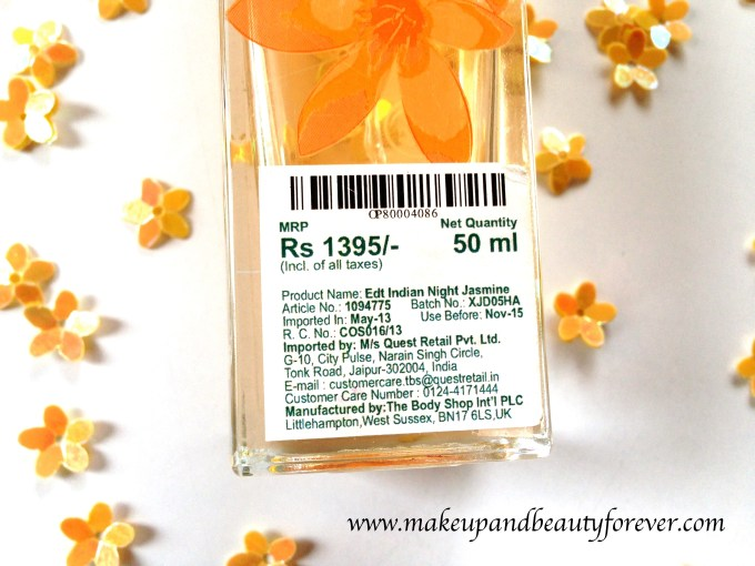 The Body Shop Indian Night Jasmine Eau De Toilette Review Price India