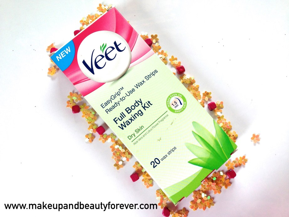 Veet Easy Grip Ready-to-Use Wax Strips Full Body Waxing Kit for Dry Skin with Aloe vera and lotus flower Review India