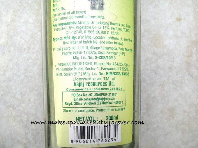 Bajaj Brahmi Amla Hair Oil Review blog