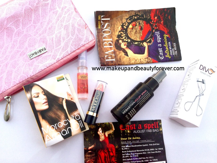 Fab Bag August 2015 Cast A Spell products contents