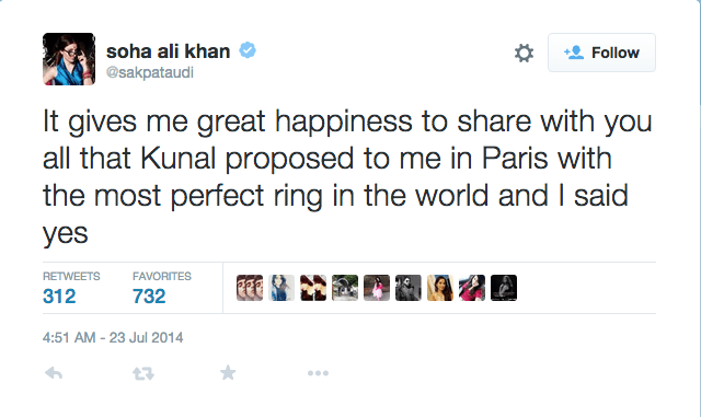 Soha Ali Khan engagement proposal tweet