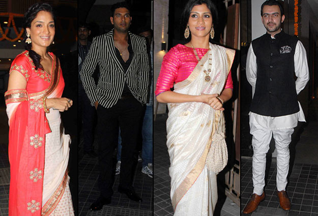 yuvraj singh konkana sen sharma at soha kunal wedding reception