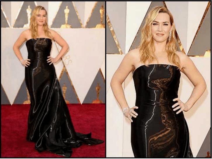 Kate Winslet 3 D black gown oscars 2016