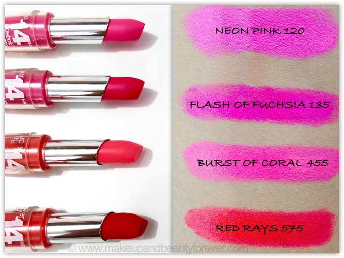 All Maybelline Superstay 14H Megawatt Lipstick Neon Pink Flash of Fuchsia Burst of Coral Red Rays Review Swatch swatches Makeup and Beauty Blog