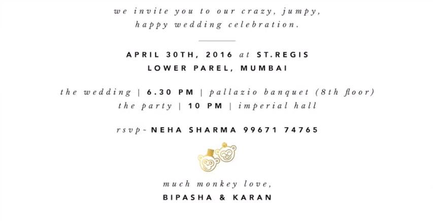 Bipasha Basu Karan Grover Wedding Invitation Card