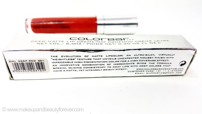 Colorbar Deep Matte Lip Crème Deep Red 001 Review India