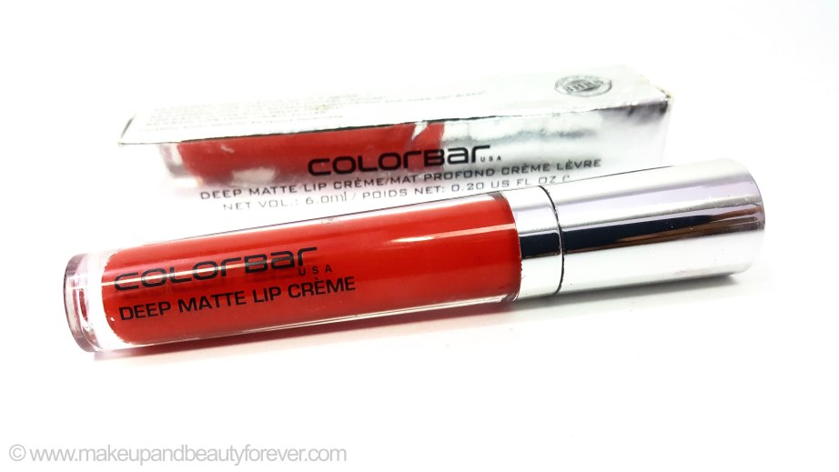Colorbar Deep Matte Lip Crème Deep Red 001 Review orange red bridal shade lipstick
