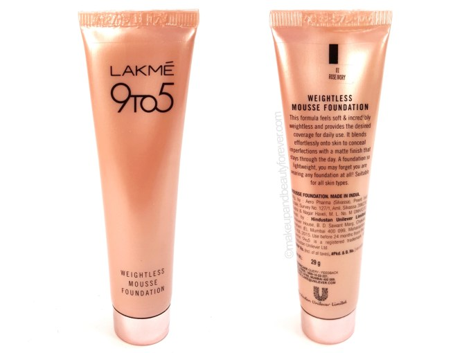 Lakme 9 to 5 Weightless Mousse Foundation Review Swatches