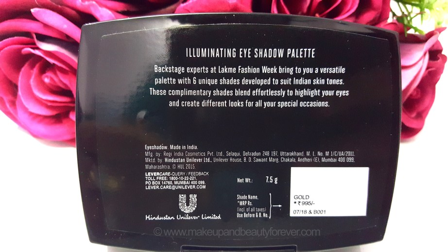 Lakme Absolute Illuminating Eye Shadow Review ingredients