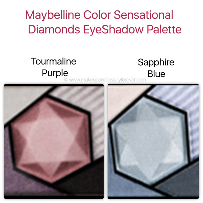 Maybelline Color Sensational EyeShadow Tourmaline Purple Sapphire Blue Swatches