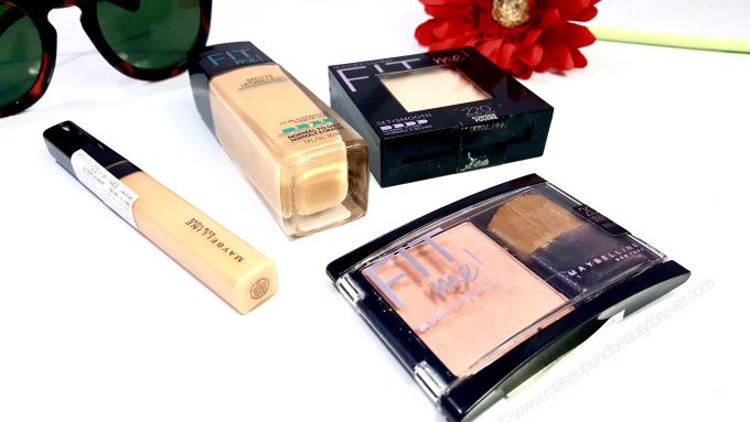 Maybelline FIT me Range Matte + Poreless Foundation Pressed Powder Concealer Blush Preview Shades Price Photos Discount