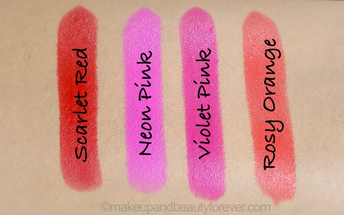 All Maybelline Vivid Matte ColorSensational Lipsticks Review Shades Swatches Scarlet Red Neon Pink Violet Pink Rosy Orange
