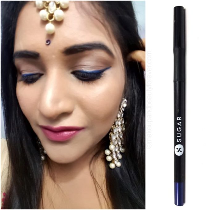 SUGAR Twist Shout Fadeproof Kajal 02 Still Got The Blue Eyeliner Review Eid Makeup look on eyes