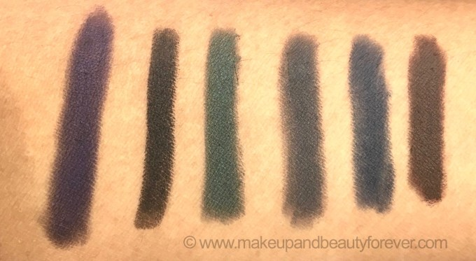 All L'Oreal Color Riche Le Smoky Eyeliner with Smudger 6 Shades Review Swatches Purple dream Black Velour Antique Green Mystic Grey Stormy Sea Brown Fusion MBF blog