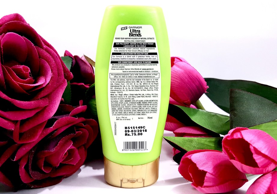 Garnier Ultra Blends 5 Precious Herbs Conditioner Review back