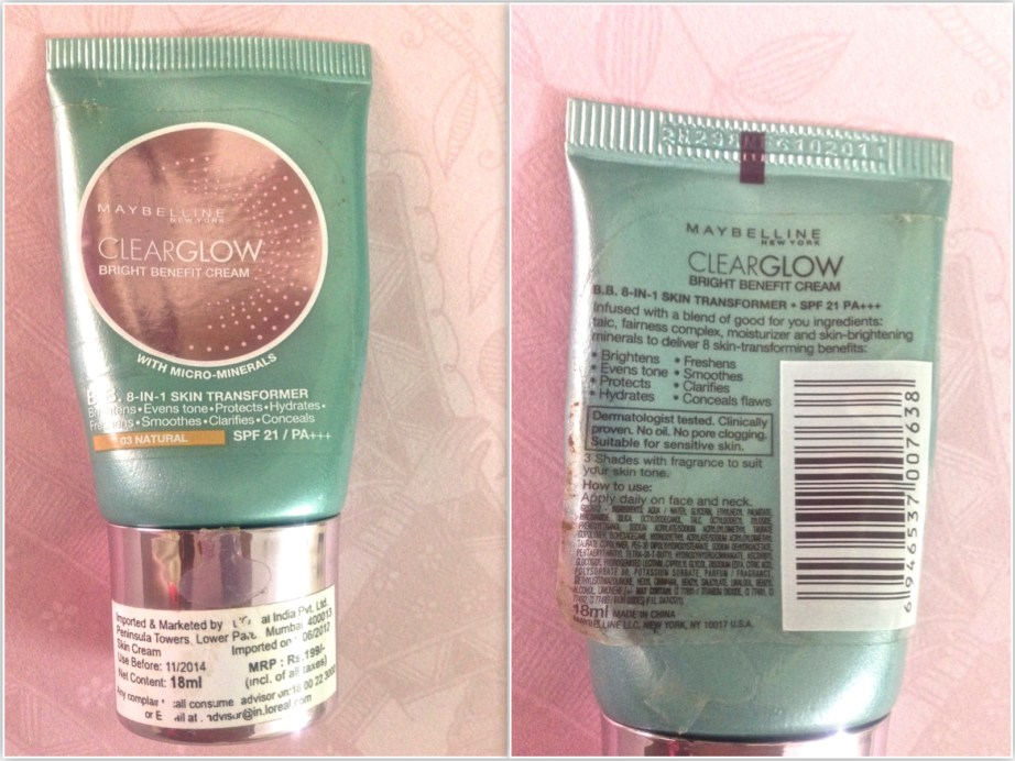 Maybelline Clear Glow Bright Benefit Cream Review Swatches comprision