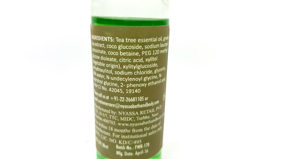 Nyassa Tea Tree Oil Face Wash Review ingredients