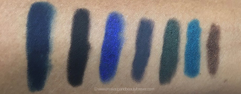 All Colorbar Just Smoky Eye Pencils 7 all Shades Review Swatches Just Blue Just Black Just Electra Just Grey Just Green Just Teal Just Brown