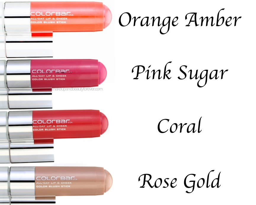 All Day Colorbar Lip & Cheek Color Blush Sticks 4 Shades Review Swatches Orange Amber Pink Sugar Coral Rose Gold