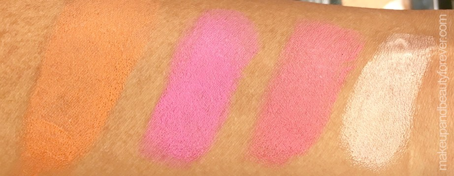 All Day Colorbar Lip Cheek Color Blush Sticks 4 Shades Review Swatches Orange Amber Pink Sugar Coral Rose Gold
