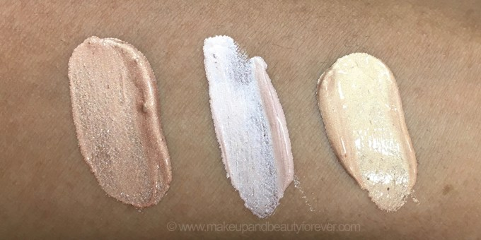 All Faces Ultime Pro Metaliglow Illuminator Opal Topaz Champagne liquid highlighter 3 Shades Review Swatches