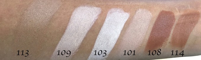 All Inglot Stick Foundation Shades Review Swatches 113 109 103 101 108 114