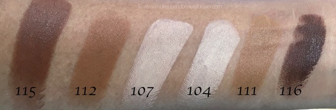 All Inglot Stick Foundation Shades Review Swatches 115 112 107 104 111 116