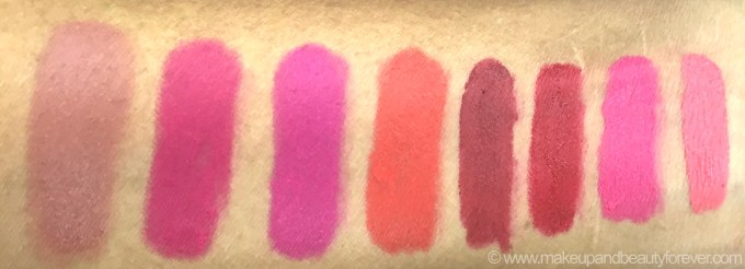 All Maybelline ColorBlur Lip Gradation Matte Lipstick 8 Shades Review Swatches Mauve 1 Pink 1 2 Fuchsia 1 Orange 1 Red 1 2 Coral