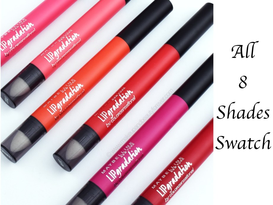 All Maybelline ColorBlur Lip Gradation Matte Lipstick 8 Shades Review Swatches Mauve Pink Fuchsia Orange Red Coral mbf