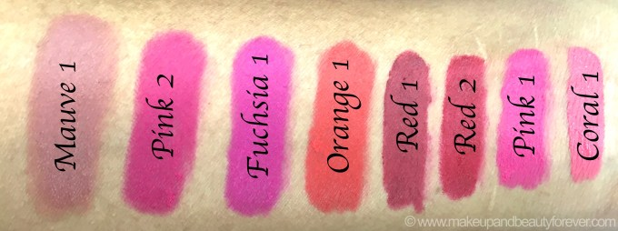 All Maybelline ColorBlur Lip Gradation Matte Lipstick 8 Shades Review Swatches Mauve Pink Fuchsia Orange Red Coral