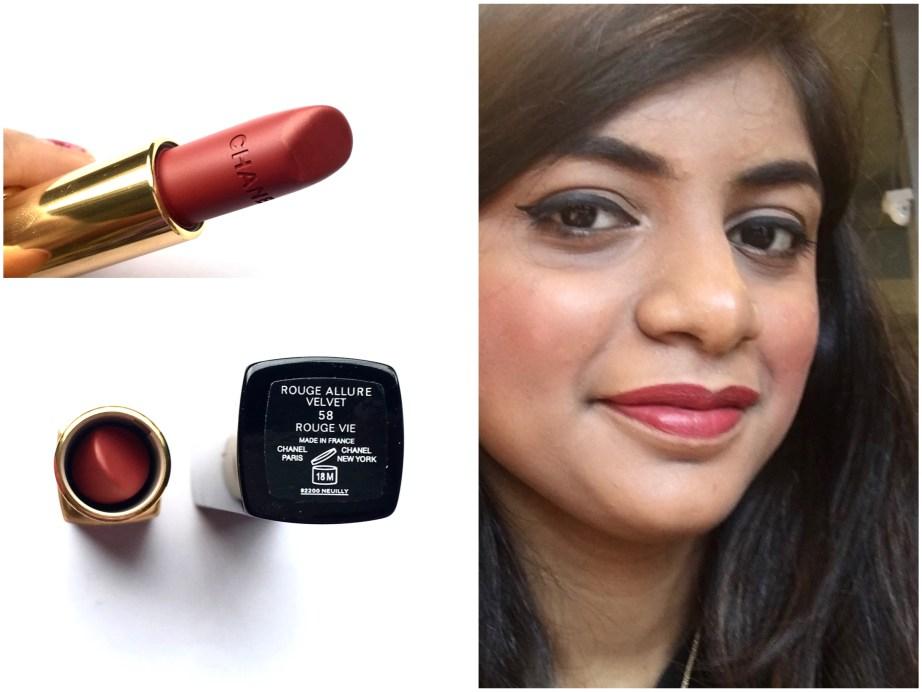 Chanel Rouge Allure Velvet Luminous Matte Lip Colour 58 Rouge Vie Review Swatches