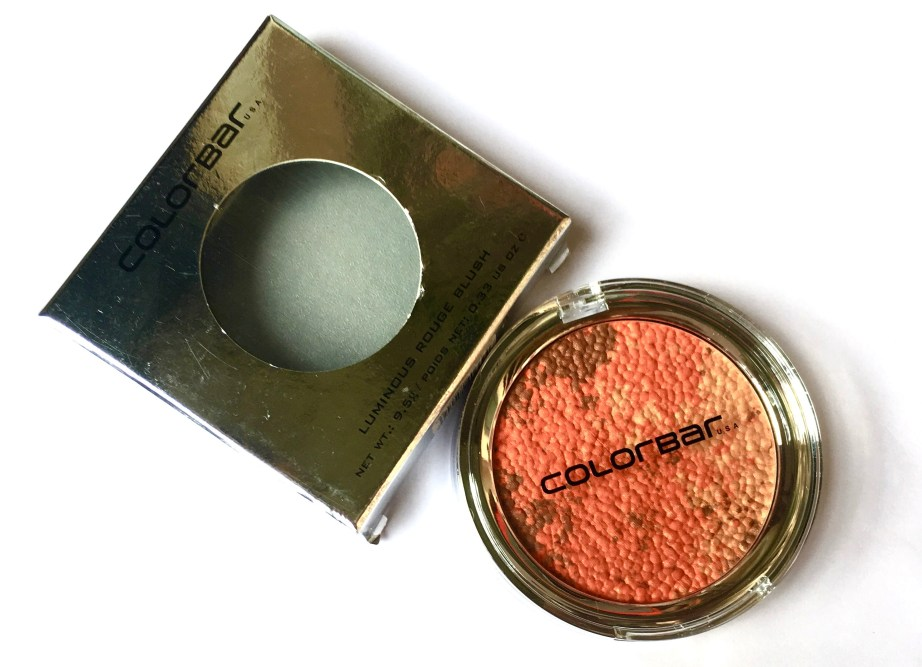 Colorbar Luminous Rouge Blush Luminous Coral review swatches MBF makeup look