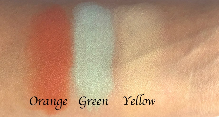 L A Girl Pro Conceal HD Orange Green Yellow Correctors Review Swatches Demo blended