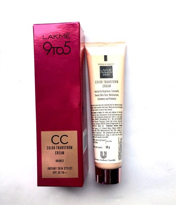 Lakme 9 To 5 Color Transform CC Cream Review Swatch