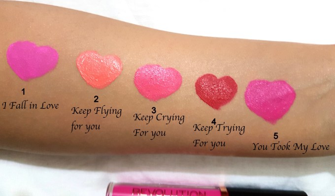 all Makeup Revolution Salvation Velvet Lip Lacquer Shades Review Swatches I fall in love Keep flying for you Keep crying for you Keep trying for you You took my love