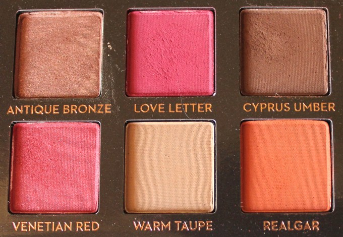 Anastasia Beverly Hills Modern Renaissance Palette Review Swatches Antique Bronze Love Letter Cyprus Umber Venetian Red Warm Taupe Realgar
