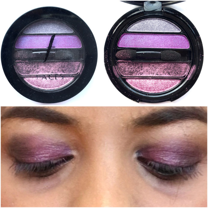 Faces I Shine Eye Shadow Quartet Purple Review Swatches on eyes