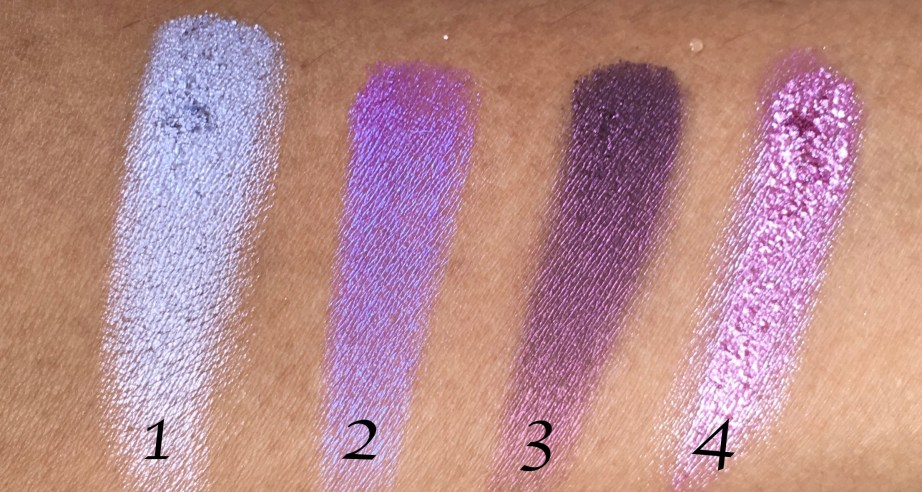 Faces I Shine Eye Shadow Quartet Purple Review Swatches on hand