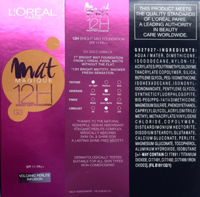 L'Oreal Mat Magique 12H Bright Mat Foundation Review Swatches info ingredients