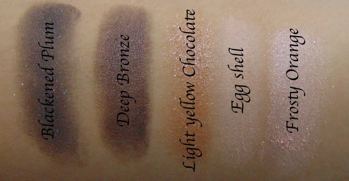 MAC Veluxe Pearlfusion Eyeshadow Palette Copperluxe Review Swatches Blackened Plum Deep Bronze Yellow Chocolate Egg Shell Frosty Orange