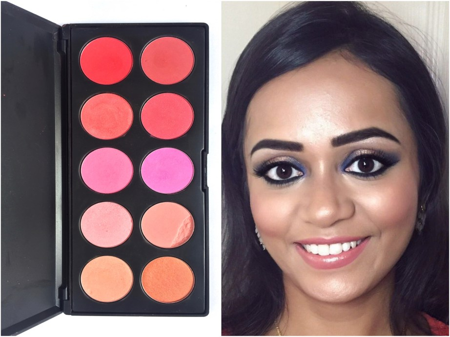 BH Cosmetics Glamorous Blush 10 Color Palette Review Swatches MBF Makeup Look