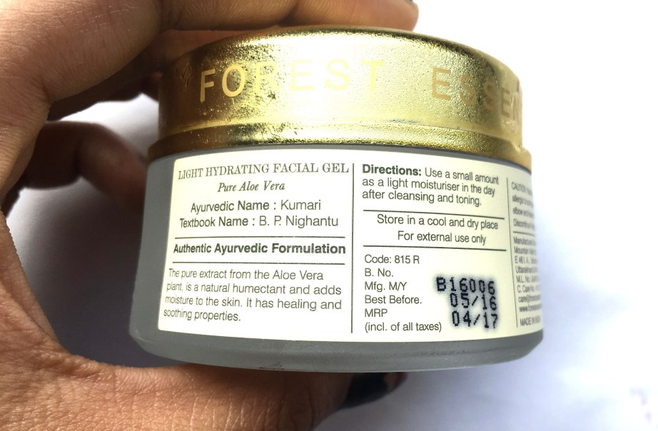 Forest Essentials Light Hydrating Facial Gel Pure Aloe Vera Review