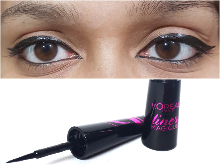 L'Oreal Paris Liner Magique Black Eye Liner Review Swatches on eyes
