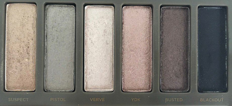 Urban Decay Naked 2 Eyeshadow Palette Review Swatches close up suspect pistol verve YDK Busted Blackout