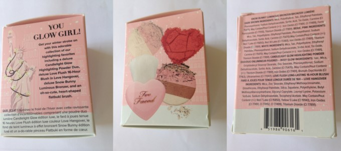 Too Faced Let It Glow Highlight and Blush Kit Review Swatches packaging