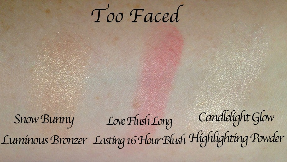 Too Faced Let It Glow Highlight and Blush Kit Review Swatches names