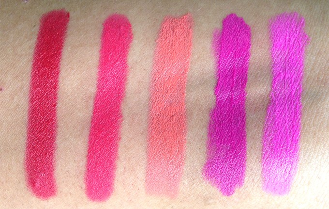 All Lotus Ecostay Crème Lip Crayon Lipsticks Shades Review, Swatches L to R Crimson Craze, Posh Pink, Coral Fab, Magenta A'La Mode, Fuchsia French MBF